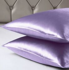 2 PACK Standard Lavender Silk Satin Pillowcases