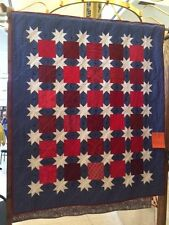"""Machine quilted quilt red white and blue stars 52"""" x62 """""""