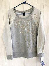 NWT DKNY Jeans sweater sweatshirt sz XS Gray Cotton Sequins