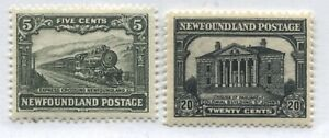 Newfoundland 1929-31 5 cents and 20 cents mint o.g. hinged