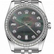 Rolex Oyster Perpetual Datejust with Black Mother Of Pearl Color Dial 8+2 Diamon
