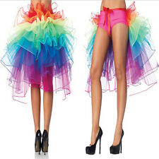 Rainbow Neon Tutu Skirt Rave Party Dance Half Bustle Burlesque Sexy Clubwear HU