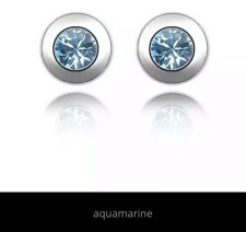 Earrings Round SILVER Plated With Aquamarine Crystal Inspired stone