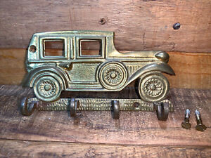 """Vintage Solid Brass Antique Car 4 Hook Key Holder Wall Plaque 6"""" by 3"""""""