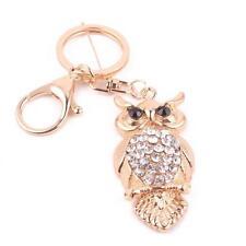 Fashion Women Cute Owl Rhinestone Keychain Bag Plush Key Ring Car Key Pendant AU