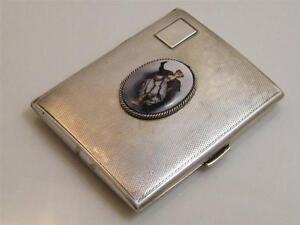 1933 HM SILVER & ENAMEL ART DECO CIGARETTE CASE