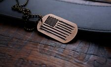 Hand Made Etched Bronze Dog Tag Pendant - Distressed US Flag - American