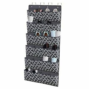 Over The Door Shoe Organizer, Hanging Shoe Holder with 24 Extra Large Grey