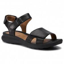 Clarks Unstructured Ladies Un Adorn Calm Black  Leather Flat Sandals Size UK 7 D