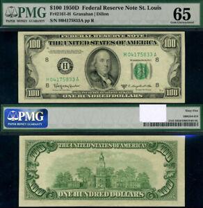 FR. 2161 H $100 1950-D Federal Reserve Note St. Louis H-A Block Gem PMG CU65