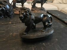 ANTIQUE WEIGHTED SODERED SILVER LION STATUE ON BASE STUNNING DETAIL AND PATINA