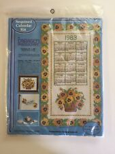 """Paragon Needlecraft 1983 Sequined Calendar Kit Basket o' Pansies 16""""x28"""" Hanging"""