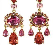 $500 Oscar de la Renta Large Pink-Orange Clip On Crystal Large Earrings Clipon