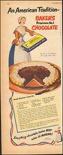 1951 Vintage ad Baker's Chocolate` Pie Art Cartoon Recipe (092616)