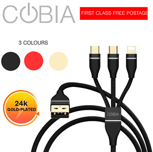 3 in 1 Lightning, Micro-USB and TYPE-C Braided Cable Fast Charging Gold Plating