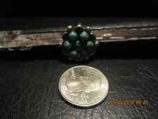 Snake-Eye Turquoise Cluster Ring sz 6 Early Zuni Sterling Silver & 7