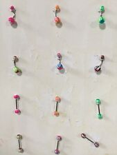 Jewel Barbell Ring Bars Body Jewelry Piercing Lot of 12 Ball Tongue Navel Nipple