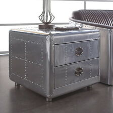 "26"" L side table aviator aero aluminum two drawer hand made spectacular"