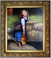 Framed, Quality Hand Painted Oil Painting, Girl lifting Jar, 20x24in
