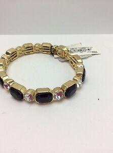 $34 Anne Klein  Gold Tone Black & Crystal Stretch Bracelet #AK136