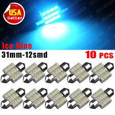 10X Festoon 31MM Ice Blue LED 12-SMD Interior Cargo Map Dome Light DE3175 DE3022
