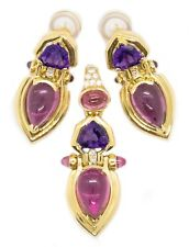 EARRING AND PENDANT 18 KT SET 21.15 Cts OF DIAMONDS, PINK TOURMALINE & AMETHYST
