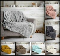 HUG & SNUG Fluffy Throws Fleece Warm Cosy Blanket Baby Rug Bed Sofa Decor Throws