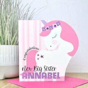 Personalised Handmade Unicorn New Big Sister Card