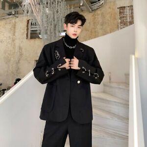 Men's Loose Fit Blazer Jacket One Button Retro style Party dress Leisure Hoop
