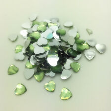 200pcs 6mm Green Heart-Shaped Resin Rhinestone Gems Flat Back Crystal Beads