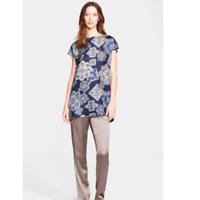 Fabiana Filippi Mixed Media Blue Paisley Silk Tunic Striped Back Sweater Top