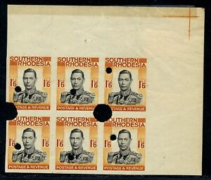 S. RHODESIA 1937 KGV WATERLOW IMPERFORATE PROOFS 1/6 BLOCK X6 MNH, R! #B203