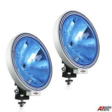 "PAIR OF 12V/24V 9"" ROUND BLUE LENS FOG SPOT LIGHTS LAMPS TRUCK LORRY 4X4"