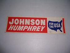 "Vintage (Lyndon) Johnson (Hubert) Humphrey For The USA Bumper Sticker 12"" x 3.5"""