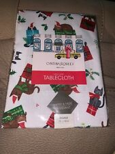 "NIP CYNTHIA ROWLEY Cats Tablecloth Holiday Christmas Gifts 70"" Round"