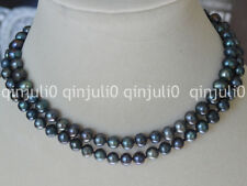 30 Inches Natural 9-10mm Baroque Black Freshwater Pearl Necklaces JN466