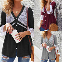 Womens Long Sleeve Lace Stitching Shirt Blouse Casual Loose Swing Tunic Tops New