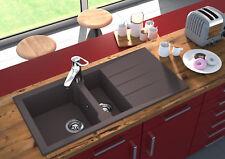 Lavabo Fregadero de granito Compuesto Cocina 100 x 50cm Gris respekta