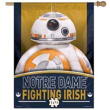 "NOTRE DAME FIGHTING IRISH STAR WARS BB-8 27""X37"" BANNER FLAG NEW FREE SHIPPING"