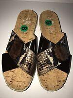 KANNA Women's Open-Toe Slide-On CrossOver Sandals BROWN SNAKE PRINT Size 8 NEW