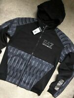 EMPORIO ARMANI EA7 BLACK HOODY SWEATSHIRT TOP HOODIE 6ZPM72 - XXL - NEW & TAGS