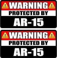 "2 - 1.5"" x 3"" Warning Protected AR-15 Second Amendment Guns Firearm Sticker WS3"