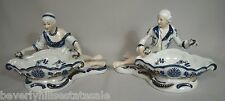 Pair of Antique KPM Porcelain Sweet Meat Dishes Man & Woman