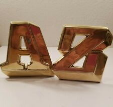 "VINTAGE MID CENTURY MODERNIST SOLID BRASS ALPHABET "" A & Z "" BOOKENDS  6 1/2"""