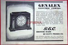1937 G.E.C. 'GENALEX' Electric Clocks AD - Original Art Deco Print ADVERT