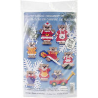 "Design Works Plastic Canvas Ornament Kit 3"" Set of 8-Christmas Teddy Bears (7 Co"
