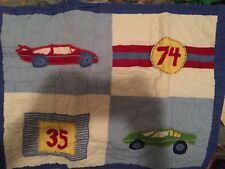 Pottery Barn Kids Cars Standard Pillow Sham Cover Blue NWT