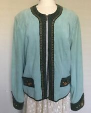 Double D Ranch Wear Green Embroidery Suede Leather Zip Jacket Lined Size LARGE