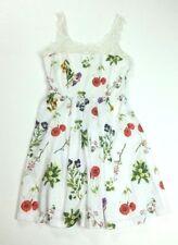 BB Dakota Women's Size Small Dress Floral Crochet A-Line White Sleeveless Flaws