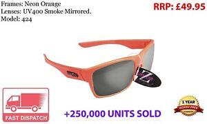 RayZor Uv400 Sports Wrap Sunglasse Neon Orange Smoked Mirrored Lens (424
